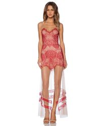 For Love & Lemons | Red Antigua Maxi Dress | Lyst