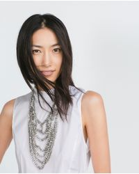 Zara   Metallic Long Necklace With Transparent Crystals   Lyst