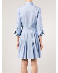 Michael Kors - Blue Pleated Shirt Dress - Lyst