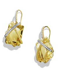 David Yurman | Yellow Cable Wrap Drop Earrings With Champagne Citrine And Diamonds In Gold | Lyst
