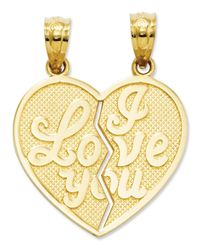 Macy's | Metallic 14k Gold Charm, I Love You Heart Break-apart Reversible Charm | Lyst