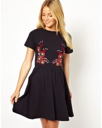 ASOS | Blue Skater Dress with Floral Embroidery | Lyst