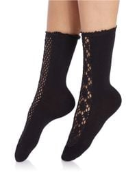 Free People - Black Open Knit Ankle Socks - Lyst