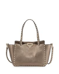 Valentino - Rockstud Metallic Small Tote Bag - Lyst