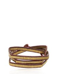 Colana - Metallic Leather Wrap Bracelet W/ Bronze Hematite - Lyst