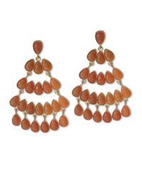 Kenneth Jay Lane | Orange Coral Chandelier Pierced Earring | Lyst