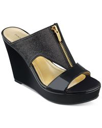 Marc Fisher - Black Winner Platform Wedge Sandals - Lyst
