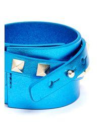 Valentino - Blue Rockstud Double Wrap Leather Bracelet - Lyst