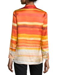 Lafayette 148 New York - Pink Mara Striped Pleated V-neck Blouse - Lyst