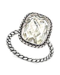 Swarovski - Metallic Palladiumplated Crystal Textured Ring - Lyst