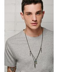 Forever 21 | Metallic Ettika Layered Feather Charm Necklace for Men | Lyst