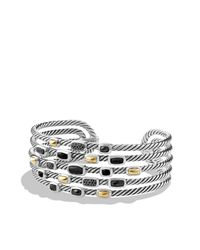 David Yurman - Metallic Confetti Wide Cuff Bracelet With Black Onyx, Black Diamonds And Gold - Lyst
