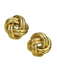 Lord & Taylor | Metallic 14k Yellow Gold Knot Earrings | Lyst