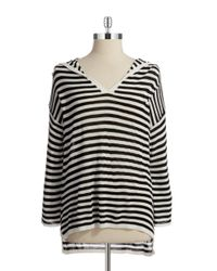 Calvin Klein | Black Striped Hi-lo V-neck Sweater | Lyst