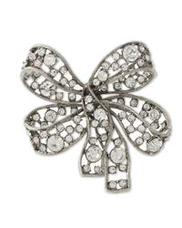 Kenneth Jay Lane | White Light Antique Silver Crystal Bow Brooch | Lyst