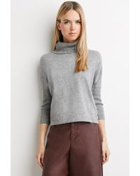 Forever 21 | Gray Contemporary Heathered Turtleneck Sweater | Lyst