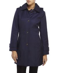 Anne Klein - Blue Hooded Turn Lock Trench Coat - Lyst