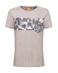 BOSS Orange - Gray 'teofilo' | Cotton Graphic T-shirt for Men - Lyst