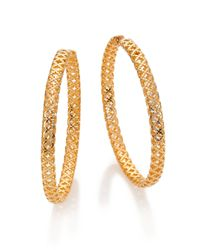Gucci | Metallic Diamantissima 18K Yellow Gold Hoop Earrings/2 | Lyst