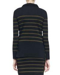 Alexander McQueen - Black Striped Buttoned-side Knit Top - Lyst
