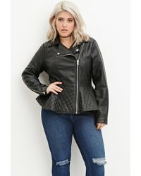 Forever 21 | Black Plus Size Quilted Peplum Moto Jacket You've Been Added To The Waitlist | Lyst