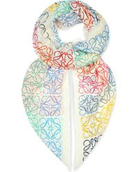 Loewe | Anagram-embossed Shawl, Women's, White/multicolor | Lyst