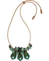 Marni | Green Leather, Resin And Horn Necklace | Lyst