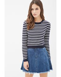 Forever 21 | Blue Striped Crew Neck Sweater | Lyst