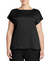 Lafayette 148 New York - Black Rosie Cap-sleeve Charmeuse Blouse - Lyst