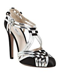 Prada - Black Woven Leather and Sateen Pumps - Lyst
