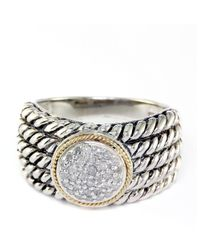 Effy | Metallic Balissima Sterling Silver With 18kt. Yellow Gold Pave Circle Diamond Ring | Lyst