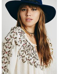 Free People - Natural Embellished Border Top - Lyst