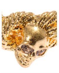 Alexander McQueen | Metallic Skull and Rope Ring | Lyst
