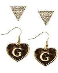 Guess | Metallic Gold-tone Crystal Logo Triangle Heart Drop Earrings | Lyst