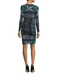 Nicole Miller - Green Quinn Force Field Sheath Dress With Ruching - Lyst