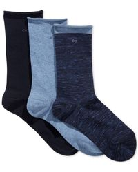 Calvin Klein | Blue Women's Casual Roll Top 3 Pack Socks | Lyst