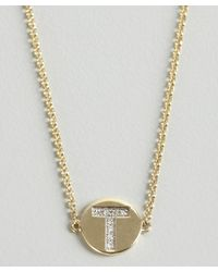 KC Designs - Metallic Gold And Diamond 't' Initial Pendant Bracelet - Lyst