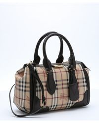 Burberry - Black Chocolate Leather Trimmed Coated Canvas 'haymarket Check Gladstone' Small Tote Bag - Lyst