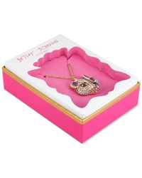 Betsey Johnson | Metallic Gold-tone Embellished Fox Pendant Necklace | Lyst