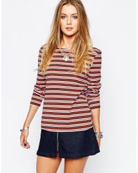 Glamorous | Multicolor Shrunken T-shirt With Long Sleeves And Boat Neck. | Lyst