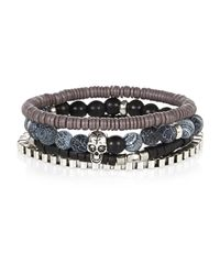 River Island | Black Skull 4 Pack Bracelets for Men | Lyst