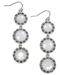 INC International Concepts   Metallic Silver-tone Pavé Triple Stone Linear Earrings   Lyst
