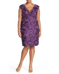 Marina | Purple Embroidered Rosette Sequin Lace Double V-neck Sheath Dress | Lyst