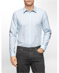 Calvin Klein | Blue White Label Classic Fit Grid Stripe Non-iron Cotton Shirt for Men | Lyst