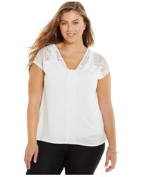 Jessica Simpson | White Plus Size V-neck Lace-trim Top | Lyst