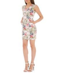 Tenki - White V-neck Floral Print Dress - Lyst