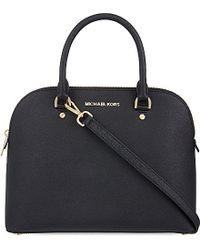 MICHAEL Michael Kors | Black Cindy Large Saffiano Leather Satchel | Lyst
