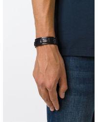 DIESEL   Black Embossed Logo Bracelet for Men   Lyst