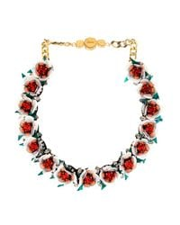 Shourouk - Red Daisy Crystal Necklace - Lyst