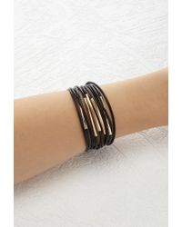 Forever 21 | Black Layered Faux Leather Bracelet | Lyst